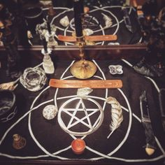 """lewnamoonstone: """" The center area of my #wiccanaltar #altar #wicca #witchcraft #wiccan #witchy """""""