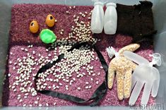"Gruffalo Inspired Sensory Tub from And Next Comes L ("",) Gruffalo Activities, Gruffalo Party, The Gruffalo, Activities For Kids, Sensory Diet, Sensory Play, Gruffalo's Child, Probiotic Yogurt, Colored Rice"