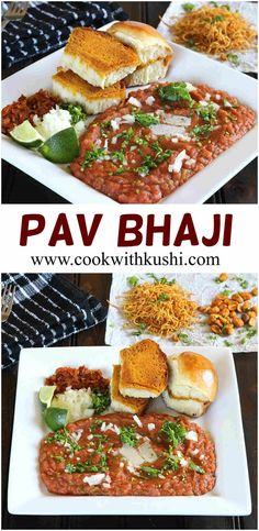 PAV BHAJI - Cook with Kushi - Sarangi Patel - PAV BHAJI - Cook with Kushi Pav Bhaji - A very popular Indian street food where spicy and irresistibly delicious curry (bhaji) with mixed vegetables is served with warm rolls or pav that are toasted in butter. North Indian Recipes, Indian Food Recipes, Asian Recipes, Healthy Recipes, Ethnic Recipes, Delicious Recipes, Vegetable Recipes, Indian Cookbook, Bhaji Recipe