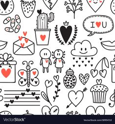 Hand drawn romantic seamless pattern lovely vector image on VectorStock Doodle Drawings, Easy Drawings, Valentine Doodle, Fun Valentines Day Ideas, Easy Doodle Art, Love Doodles, Doodle Art Journals, Bullet Journal Writing, Halloween Drawings