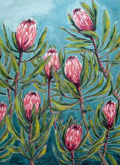 Pink Protea Painting Archival Wall Art Print Illustration Australian Native art prints Pink Protea P Flor Protea, Protea Art, Protea Flower, Fruits Drawing, Plant Drawing, Drawing Flowers, Painting Flowers, Fabric Painting, Drawing Art