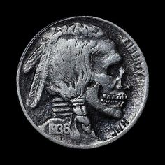 """""""Hobo Nickel"""": Although the history of carving miniature bas relief sculptures into coins stretches back to the 18th century if not earlier, it was greatly popularized in the early 20th century with the introduction of the Buffalo nickel. This particular coin was minted using soft metal and was imprinted with the portrait of an indian with bold features, making it easier to deface and transform into the portraits of other people, animals, or even scenery."""