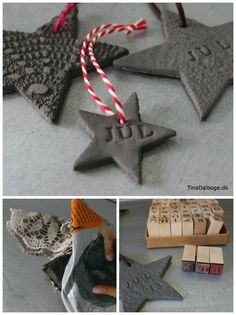 stjerner af selvhærdende ler med bogstaver og blonde - omsat til saltdej og evt. med blad-print