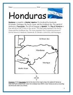 HONDURAS Printable handouts include a map to color by Color and Learn Geography Worksheets, Teaching Geography, Worksheets For Kids, Printable Worksheets, Spanish Classroom, Teaching Spanish, Honduras Flag, Spanish Speaking Countries, Leader In Me