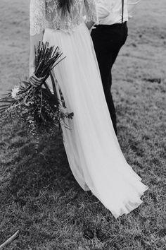 Boho Brautkleid Zweiteiler Vintage Hochzeitskleid