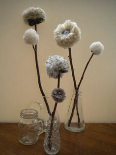 FLOWERS On Natural Tree Branches - Centerpiece - Primitive Folk Art - Simple PUFFY - Pewter/Cream/Silver/Gray/Grey. $14.00, via Etsy.