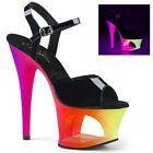 Pleaser Women's Black Patent Neon Multi Cut-Out Platform Strap Sandal Blue High Heels, Pink Heels, Ankle Strap Sandals, Black Sandals, Neon Pumps, Transparent Heels, Silver Heels, Christian Louboutin, Platform