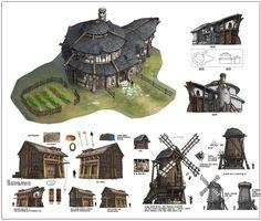 TERA concept art, Red Hong on ArtStation at… Fantasy Town, Fantasy Castle, Fantasy House, Medieval Fantasy, Building Concept, Building Art, Environment Concept Art, Environment Design, 3d Modelle