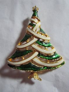 JEWELRY 5.00 MULTI-SHIP U.S.  Vintage Christmas Pin Tree Green White Wide | eBay