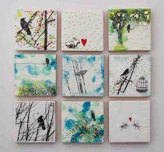 Blackbirds & Bumblebees: Mini Encaustic Paintings . . .