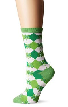 St Patrick's Day Shamrocks Argyle Socks Lucky K. Bell Crew Women's #KBell #Casual