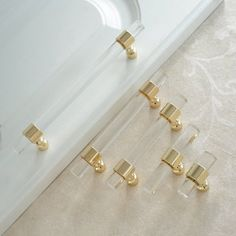 Customizable Drawer Pulls and Knobs Acrylic Gold Clear Dresser Pulls Cabinet Door Handles Pull Knobs Bathroom Handle Hardware Customized Gold Kitchen Hardware, Gold Cabinet Hardware, Dresser Hardware, Cabinet Door Handles, Bathroom Hardware, Furniture Hardware, White And Gold Dresser, Silver Dresser, Drawer Pulls And Knobs