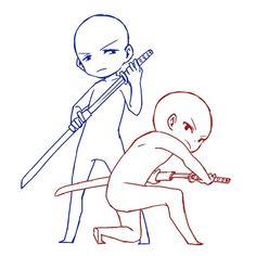 Manga Drawing Ideas Draw the squad katana pose, couple pose, duo pose, chibi Drawing Body Poses, Drawing Reference Poses, Drawing Practice, Drawing Ideas, Drawing Couple Poses, Couple Poses Reference, Drawing Tips, Drawing Base, Manga Drawing