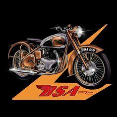 'Vintage BSA Golden Flash recreated by MotorManiac ' by MotorManiaTees Moto Norton, Norton Motorcycle, Motorcycle Logo, Motorcycle Posters, Motorcycle Style, Motorcycle Design, Motorcycle Accessories, Scooters, British Motorcycles