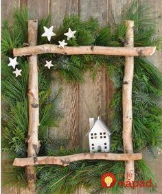 fensterdeko weihnachten Little House Christmas Wreath -full tutorial to make your own wreath from some gathered greens, birch logs, and a coat hanger. Perfect for Christmas. Noel Christmas, Rustic Christmas, Winter Christmas, Christmas Wreaths, Christmas Ornaments, Outdoor Christmas, Canadian Christmas, Christmas 2019, Christmas Lights