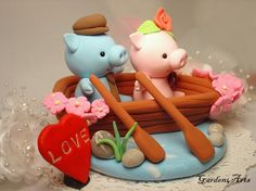 Customise Pig Love Wedding Cake Topper with Sweet by Garden4Arts, $79.00