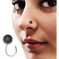 Pcm Silver Nose Pin Plain Antique Sterling Silver Nose Pin/Ring For Women