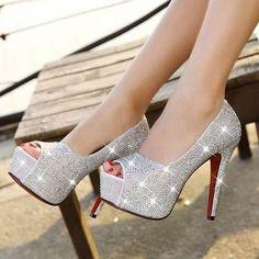 sapato peep toe cristal de noiva e festas importado