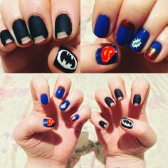 Batman vs Superman nail art! Superman Nails, Batman Nail Art, Superhero Nails, Batman Vs Superman, My Nails, Halloween Costumes, Marvel, Finger Nails, Halloween Costumes Uk