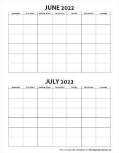 Calendar June And July 2022.Blank Calendar June And July 2022 Monday To Sunday Blank Calendar School Holiday Calendar Calendar June