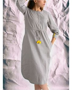 Shop online Pom pom shift dress Grey shift dress with ajustable pom-pom string in the front. Stylish Summer Outfits, Stylish Dresses, Kurta Designs, Blouse Designs, Kurti Patterns, Dress Patterns, Kurti Styles, Cat Dresses, Mode Hijab
