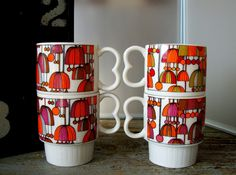 Vintage Mod Stacking Coffee Cups