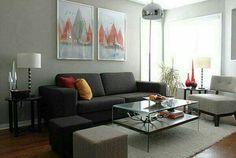 gray ottoman contemporary living room grey living room modern living room with grey color ds furniture Grey Walls Living Room, Ikea Living Room, Small Living Rooms, Living Room Modern, Living Room Interior, Living Room Designs, Living Room Furniture, Interior Paint, Gray Walls