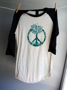 Peace - Tree of Life Baseball Style Burnout Shirt - Black and Natural - sleeves - Unisex Extra Small Tree Of Life Quotes, Alternative Outfits, Tees, Shirts, Peace, Unisex, Baseball, Sleeves, Cotton
