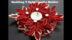 Decorate your home with handmade Quilling T light Candle holder. Reuse the waste CD and make beautiful handmade candle holder out of it. Quilling Videos, Quilling Tutorial, Quilling Paper Craft, Quilling Techniques, Paper Quilling Flowers, Paper Quilling Jewelry, Quilling Christmas, 3d Christmas, Quilling Patterns