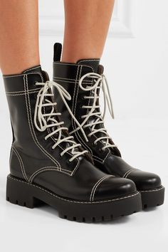 Alexachung Leather ankle boots  Heel measures approximately 40mm/ 1.5 inches Black leather (Cow) Lace-up front Imported