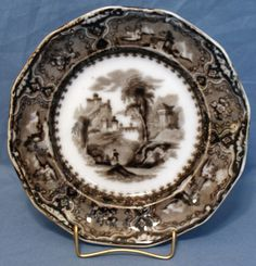 Flow Mulberry Ironstone Plate, Alcock in Vincennes Pattern 1857 China China, Dinnerware, Flow, Decorative Plates, Pottery, Amp, Glass, Ebay, Dinner Ware
