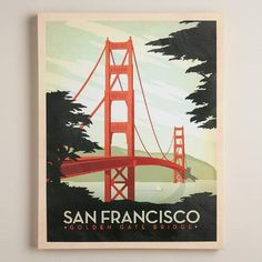Celebrate San Francisco with our wall art inspired by retro travel posters. Perfect for the globe trekker's home, it features a gel brush finish for added depth and texture.