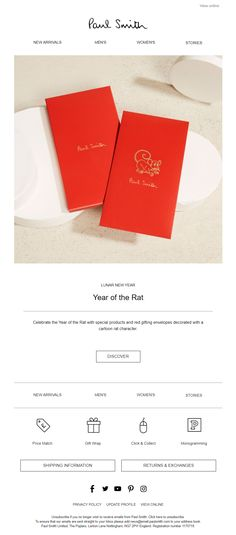 Lunar New Year email from Paul Smith Chinese New Year Greeting, Chinese New Year 2020, New Year Greeting Cards, Chinese New Year Decorations, New Years Decorations, Cartoon Rat, Gift Envelope, Year Of The Rat, Lunar New