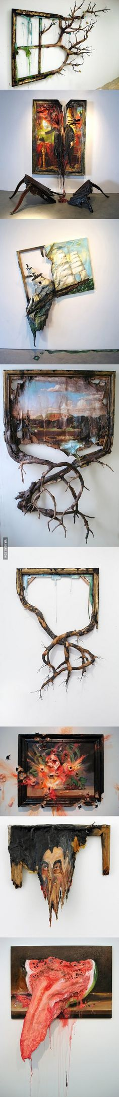 """Valerie Hegarty - """"Decaying"""" Paintings *could I paint idealic scenes/portraits to mock the religious iconography and then destroy them in a similar way to this Instalation Art, 3d Studio, A Level Art, Wow Art, Art Plastique, Art Inspo, Amazing Art, Awesome, Art Drawings"""