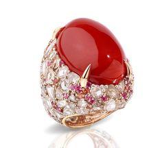 Pom Pom coral cocktail ring by Pomellato Pomellato, Bagan, Diamond Rings, Gemstone Rings, Jewelry Rings, Fine Jewelry, Coral Jewelry, Fantasy Jewelry, Ring Verlobung