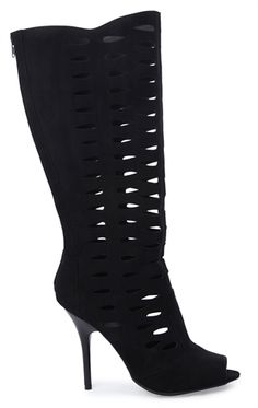 Tall High Heel Boot with Cutouts