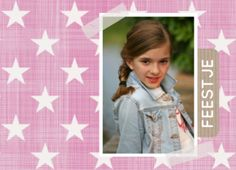 Uitnodiging meisje roze met sterren www.fientje-en-co.nl