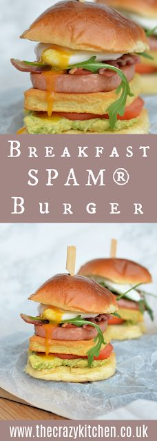 The Crazy Kitchen: Breakfast SPAM®️ Burger {& a GIVEAWAY} #AD Spam Breakfast Recipe, Breakfast Burger, Breakfast Recipes, Hamburger Buns, Hamburger Recipes, Fried Spam, Potato Waffles, Crazy Kitchen, Ripe Avocado