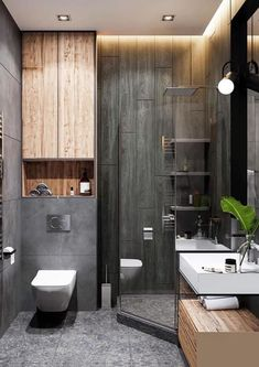 Monochrome bathroom in project There are three shades of color . - Design Cointrend News Modern Small Bathrooms, Modern Bathroom Decor, Amazing Bathrooms, Bathroom Ideas, Budget Bathroom, Master Bathroom, Bathroom Design Luxury, Modern Bathroom Design, Home Interior Design