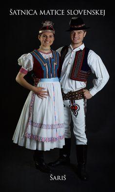Šariš, Slovakia Folk Clothing, Costumes, Clothes, Beautiful, Saris, Slovenia, Art Reference, Embroidery, Ornaments