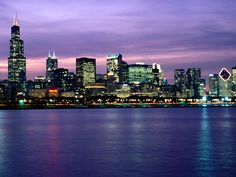 The Chicago skyline...the best place to view the skyline is from the Adler Planetarium at night.
