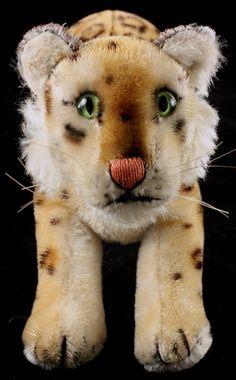 Rare Large '50's Steiff Stalking Leopard Wild Cat ID ROARS When Squeaker's Pressed, Stuffed Animal.