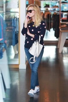 Reese Witherspoon Wore Talbots…Again #refinery29  http://www.refinery29.com/2015/02/82906/reese-witherspoon-talbots-heart-print-sweater-outfit#slide-1  Reese Witherspoon was photographed in Los Angeles wearing a Talbots heart sweater with skinny jeans and classic Nike Court sneakers.