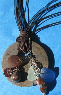 bohemian beach glass necklace.  Tophatter.com.