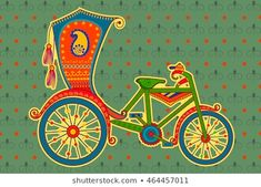 Vector design of cycle rickshaw in Indian art style Pichwai Paintings, Indian Art Paintings, Abstract Paintings, Madhubani Art, Madhubani Painting, Indian Illustration, Car Illustration, Illustrations, Zentangle