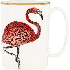 kate spade new york Zoo Drive Mug - Flamingo (€29) ❤ liked on Polyvore featuring home, kitchen & dining, drinkware, pink, kate spade, pink mug, everyday drinkware, animal mugs and flamingo mug