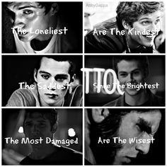 """The Loneliest Are The Kindest. The Saddest Smile The Brightest. The Most Damaged Are The Wisest."" I don't watch teen wolf, but this is interesting Teen Wolf Dylan, Teen Wolf Cast, Dylan O'brien, Series Movies, Movies And Tv Shows, Tv Series, Mtv Shows, Wolf Stuff, Daniel Sharman"