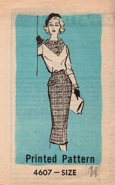 Sewing Blouse Vintage Sewing Pattern Mail Order Wiggle Pencil Skirt V - Original sewing pattern Mail order Late Uncut and factory folded, no envelope Size bust waist hip 36 Slim fit skirt, blouse with v neckline yoke, high neck, long sleeve Slim Fit Skirts, Sewing Hacks, Sewing Tips, Sewing Blouses, Vintage Fur, Sewing For Beginners, 1950s Fashion, Vintage Sewing Patterns, Pencil