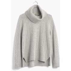 MADEWELL Cashmere Convertible Turtleneck Sweater in Cableknit (15,395 INR) ❤ liked on Polyvore featuring tops, sweaters, hthr grey, grey cashmere sweater, turtleneck sweater, grey cable knit sweater, gray turtleneck sweater and grey sweater
