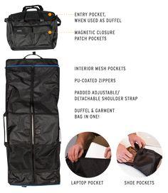 Unisex Travel Bag With Built-In Garment Bag